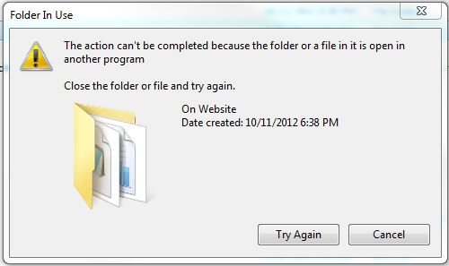 OutputTo Folder In Use Error