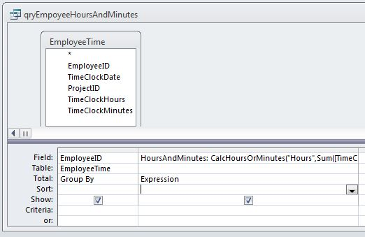 Employee Hours and Minutes Query